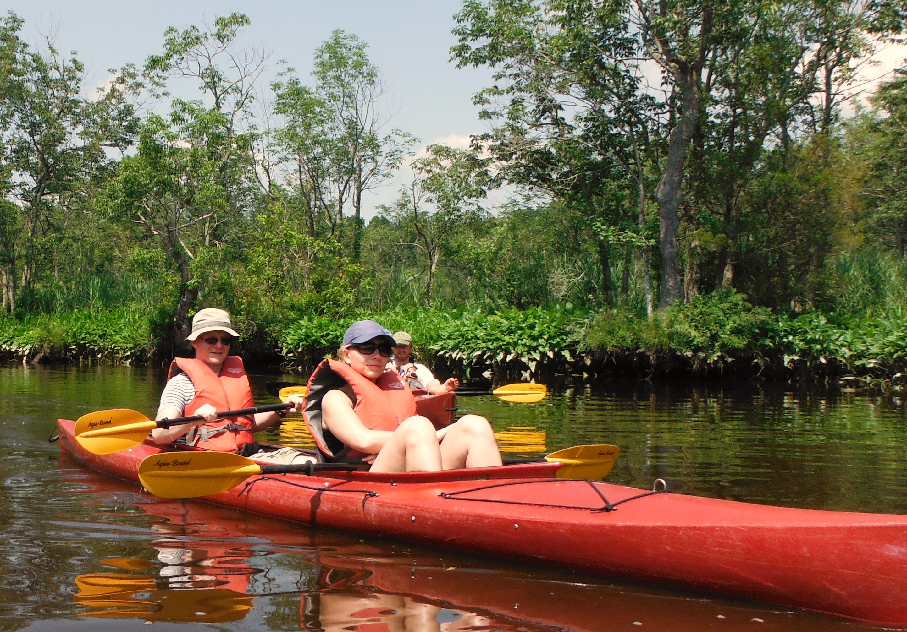 These visitors are exploring the Chicone paddle.
