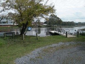 View of the launch site and floating dock