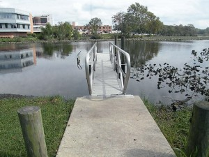 Floating dock with handrails