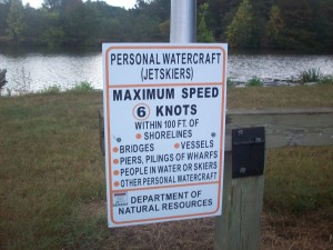 A reminder is posted for jet ski users.
