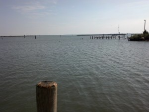 The view from the boat ramp toward the breakwaters and Fishing Bay beyond.