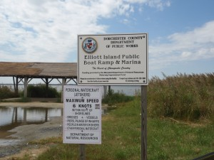 Elliotts Island Public Landing sign